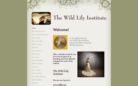 Screenshot of Home Page emilyisaacsoninstitute.com - The Wild Lily Institute - Home - captured Dec. 14, 2016