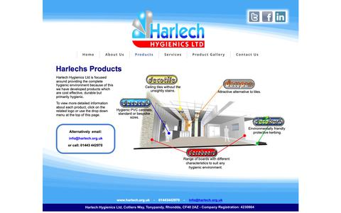 Screenshot of Products Page harlech.org.uk - Products - captured Sept. 27, 2018
