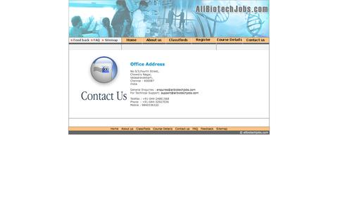 Screenshot of Contact Page allbiotechjobs.com - Allbiotechjobs.com bringing together job seekers and job providers in Biotechnology - captured Feb. 5, 2016