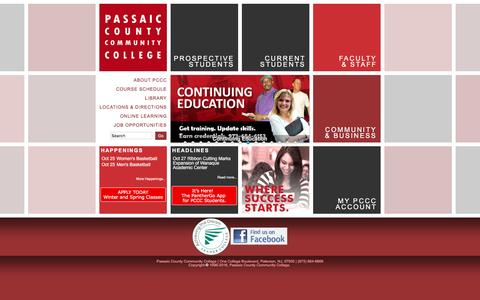 Screenshot of Home Page pccc.edu - passaic county community college - PCCC - captured Oct. 25, 2016