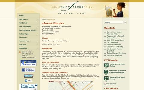 Screenshot of Contact Page Maps & Directions Page communityfoundationci.org - Community Foundation of Central Illinois - captured Oct. 22, 2014