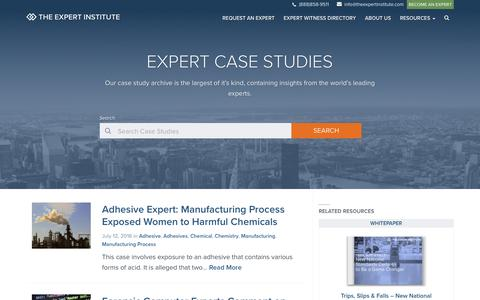 Screenshot of Case Studies Page theexpertinstitute.com - Expert Case Studies Archive - The Expert Institute - captured July 18, 2016