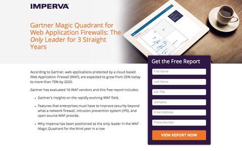 Screenshot of Landing Page imperva.com - Gartner Magic Quadrant for Web Application Firewalls - Imperva WAF Security - captured June 19, 2017