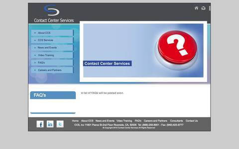 Screenshot of FAQ Page ccsgis.com - Contact Center Service - FAQs - captured Oct. 3, 2014