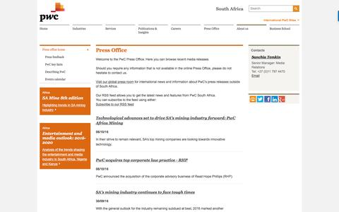 Press Office Home : PwC South Africa
