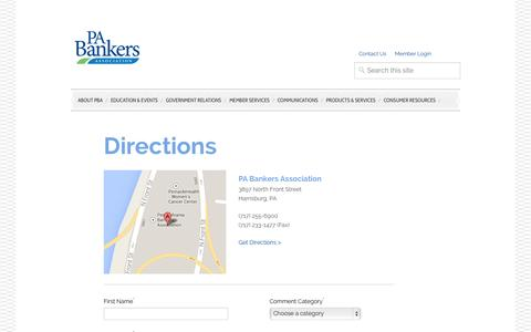 Screenshot of Contact Page Maps & Directions Page pabanker.com - PBA—Directions - captured Oct. 22, 2014