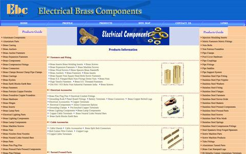 Screenshot of Products Page electrical-brass-components.com - Brass hose barbs, brass hose fittings Brass pipe fittings  Casting Brass Castings Electrical components Electrical Accessories Grounding clamps  Brass Screws Brass Nuts Hose Barbs  from Electrical Brass Components - captured Oct. 2, 2014
