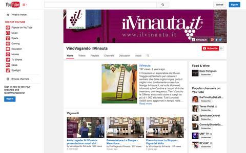 Screenshot of YouTube Page youtube.com - VinoVagando ilVinauta  - YouTube - captured Oct. 23, 2014