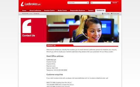 Screenshot of Contact Page ladbrokesplc.com - Contact us - Ladbrokes PLC - captured Oct. 1, 2014