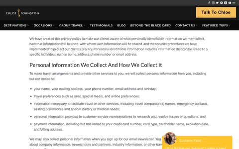 Screenshot of Privacy Page chloejohnston.com - Privacy Policy for Travel | Chloe Johnston Experiences - captured Sept. 25, 2018