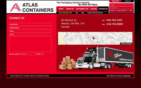 Screenshot of Contact Page atlascontainers.com - Contact - Custom Corrugated Packing & Shipping Box | Toronto - captured Sept. 30, 2014