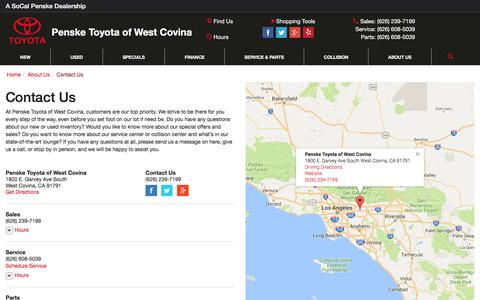Screenshot of Contact Page Hours Page toyotawestcovina.com - Contact Penske Toyota of West Covina in West Covina California - captured Dec. 28, 2016