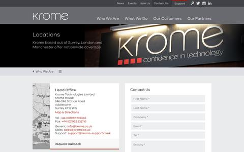 Screenshot of Contact Page Locations Page krome.co.uk - Krome Technologies Office Locations - captured Nov. 27, 2016