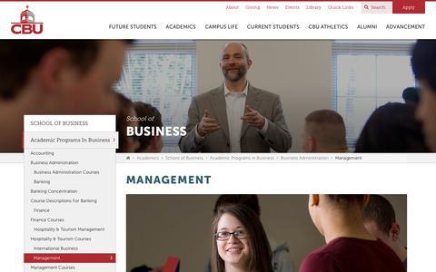 Screenshot of Team Page cbu.edu - Management Concentration | Business Administration | CBU - captured Sept. 23, 2016