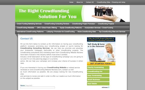 Screenshot of Contact Page crowdfunding-website-reviews.com - Crowdfunding-Website-Review Contact Page - captured Oct. 30, 2014