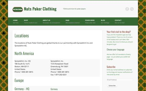 Screenshot of Locations Page nutspokerclothing.com - Locations - Nuts Poker Clothing - captured Sept. 30, 2014