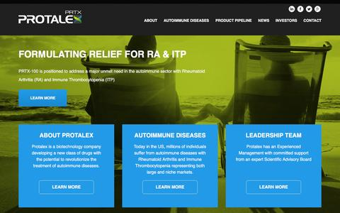Screenshot of Home Page protalex.com - Protalex, Inc. (PRTX) - captured Feb. 21, 2016