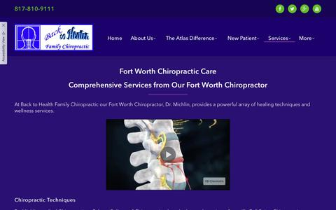 Screenshot of Services Page backtohealthtexas.com - Chiropractic Care | Back to Health Texas | Wellness Chiropractic - captured Dec. 18, 2018