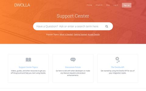 Screenshot of Support Page dwolla.com - Dwolla |        Support - captured March 23, 2016