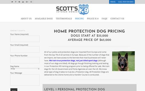 Screenshot of Pricing Page scottsk9.com - Home Protection Dog Pricing | Scott's Police K-9 - captured Oct. 23, 2017