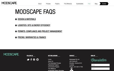 Screenshot of FAQ Page modscape.com.au - FAQs - Modscape - captured Jan. 10, 2016