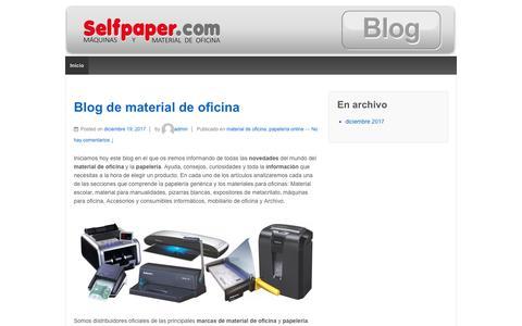 Screenshot of Blog selfpaper.com - Blog Material de Oficina Selfpaper.com – Novedades, Información y consejos sobre material de oficina y papelería. - captured Feb. 14, 2019