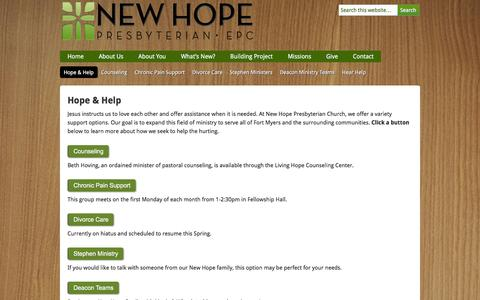 Screenshot of Support Page newhopefortmyers.org - Hope & Help | New Hope Presbyterian Church - captured Feb. 18, 2016