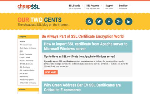 Screenshot of Blog cheapsslsecurity.com - OUR TWO CENTS Blog - The Cheapest SSL Blog on the Internet - captured May 10, 2017