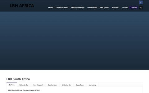 Screenshot of Contact Page lbhsouthafrica.com - Contact  - LBH AFRICA - captured Oct. 1, 2014