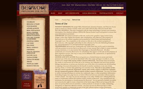 Screenshot of Terms Page beowoof.com - Terms of Use - captured Oct. 5, 2014