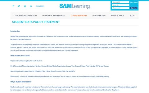 Student Data Policy Statement - SAM Learning