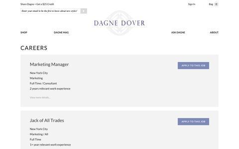 Screenshot of Jobs Page dagnedover.com - Careers - Dagne Dover - captured Oct. 28, 2014