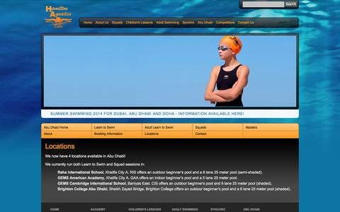 Screenshot of Locations Page hamiltonaquaticsdubai.com - Locations | Hamilton Aquatics Dubai - captured Oct. 1, 2014