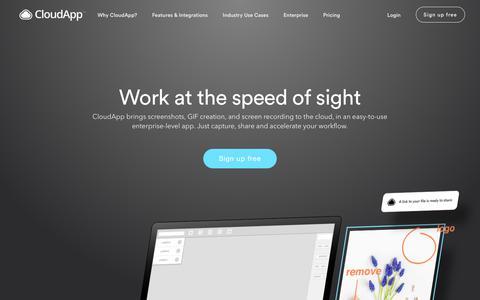 Screenshot of Home Page getcloudapp.com - CloudApp | The Video & Image Sharing Platform - captured April 27, 2018