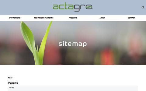 Screenshot of Site Map Page actagro.com - Sitemap - Actagro - captured July 29, 2018