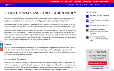 Screenshot of Privacy Page geegeez.co.uk - Refund, Privacy and Cancellation Policy - captured June 28, 2017