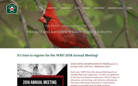 Screenshot of Login Page wbfi.org - Wild Bird Feeding Industry - Home - captured Oct. 18, 2018