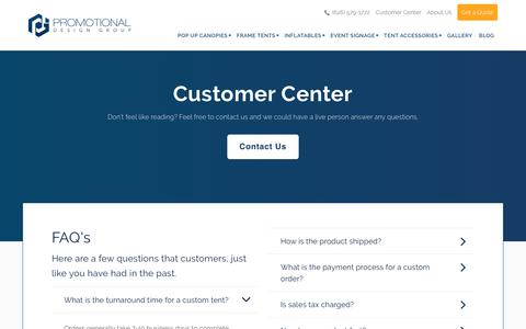 Screenshot of Privacy Page FAQ Page promotionaldesigngroup.com - Customer Resources | Find answers to Frequently Asked Questions - captured Sept. 23, 2018