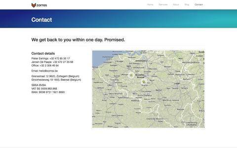 Screenshot of Contact Page zorros.be - Contact - captured Oct. 26, 2014