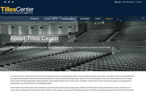 Screenshot of About Page tillescenter.org - About Tilles Center – TillesCenter for Performing Arts - captured June 27, 2017
