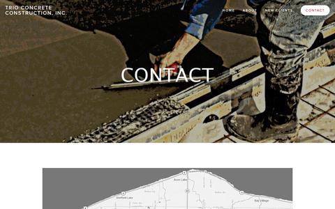 Screenshot of Contact Page trioconcrete.com - Contact — Trio Concrete Construction, Inc. - captured Oct. 8, 2014