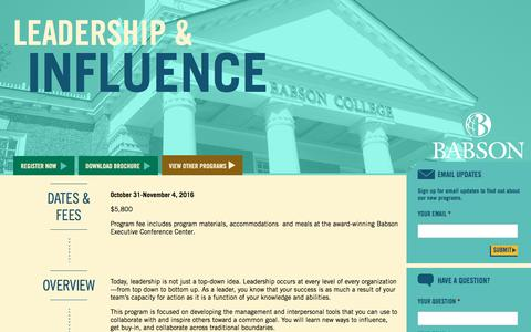 Screenshot of Landing Page babson.edu - Leadership & Influence - captured Aug. 26, 2016