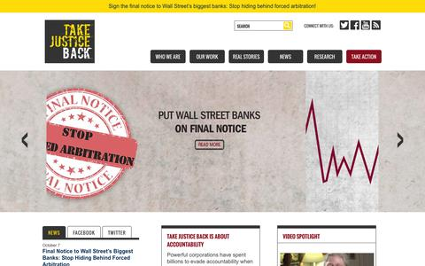 Screenshot of Home Page takejusticeback.com - Home   Take Justice Back - captured Oct. 9, 2014