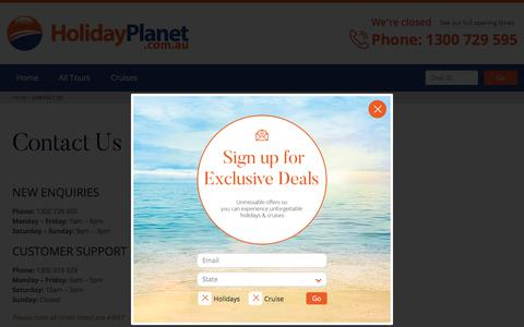 Screenshot of Contact Page holidayplanet.com.au - Contact Us | Holiday Planet Australia - captured July 20, 2018