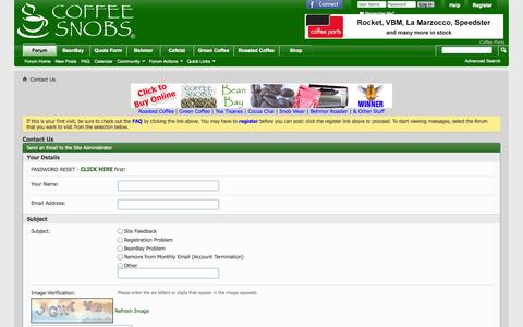 Screenshot of Contact Page coffeesnobs.com.au - Contact Us - CoffeeSnobs - captured Oct. 30, 2014
