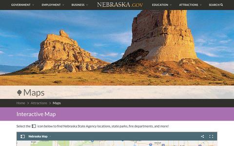 Screenshot of Maps & Directions Page nebraska.gov - Maps | Nebraska.gov - captured May 23, 2016
