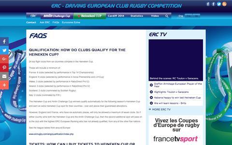 Screenshot of FAQ Page ercrugby.com - Contact ERC | ERC | Official Website : FAQs - captured Oct. 15, 2016