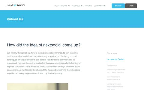 Screenshot of About Page nextsocial.io - About Us | nextsocial - captured Sept. 11, 2014