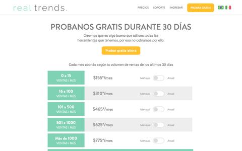 Screenshot of Pricing Page real-trends.com - Real Trends - Precios - captured July 4, 2016