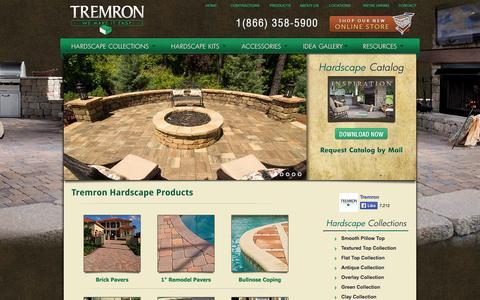 Screenshot of Products Page tremron.com - Hardscape Products | Tremron Jacksonville Pavers, Retaining Walls, Fire Pits | Atlanta, Miami, Orlando, Tampa, Florida Paver Manufacturer - captured Sept. 23, 2014